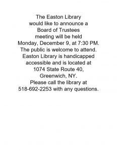 Board of Trustee Meeting @ Easton Library